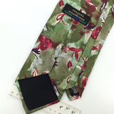 COLOURS BY ALEXANDER JULIAN FLORAL OLIVE GREEN Red Silk Necktie I1-17 EUC Ties