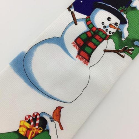 ANONYMOUS SNOWMAN BLUE WHITE TREE Christmas Men's Necktie tie #XP2-277 New