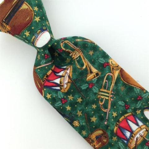 70S VTG BL PINE VIOLIN DRUM Christmas Cotton Narrow Handmade Neck Tie #CX6-245