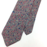VINTAGE MANHATTAN Tie USA Ancient Madder  NARROW Gray Red Silk Necktie Ties I5-8