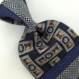 XL 60'' RESILIO US MADE STRIPED ABSTRACT NAVY BLUE Silk Necktie I3-49 EUC Ties