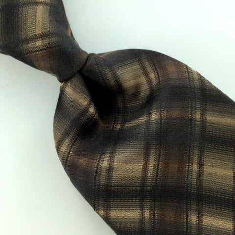 ALFANI PLAIDS CHECK NARROW BROWN Woven Silk Men Necktie Tie I1-1096 Excellent