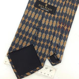 BILL BLASS GEOMETRIC BEIGE Steel/BLUE Brown Silk Men Classic Necktie I2-342 Ties