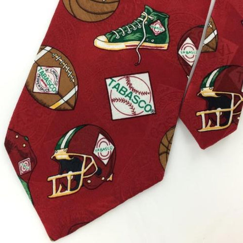 TABASCO TENNIS SHOES FOOTBALL SPORTS MAROON Silk Men Neck Tie N4-68 Excellent