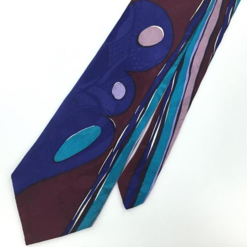 XL 61'' JACQUES ESTIER BLUE Turquoise iABSTRACT Art Deco Silk Necktie I3-24 Ties