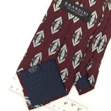BRANDINI US MADE Waves MAROON WHITE Navy Silk Men Necktie I1-596 Excellent Ties