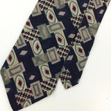 CAMBRIDGE CLASSICS US MADE Art Deco NAVY BLUE GRAY Classic Necktie I2-158 Ties