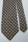 ZANZARA Made In Italy Maroon TAN Drops Paisley Geometric TIE Excellent #Z1-444