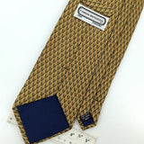 CARLOS DEVENEZIA HANDMADE Linked Diamonds GOLD Silk Men Necktie I1-867 EUC Ties