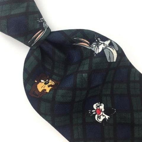 Looney Tunes Mania PLAID BUGS BUNNY DAFFY DUCK TWEETY TAZ BLUE Necktie Tie B1-11