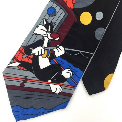 Looney Tunes Mania FISHING SYLVESTER THE CAT TWEETY BIRD RED Necktie Tie B1-17