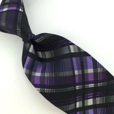 ARROW SLIM PLAIDS CHECK BLACK VIOLET Purple Woven Silk Men Neck Tie I1-961 New