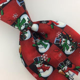 YULE TIE GREETINGS SNOWMAN RED Christmas Men's Necktie tie #XP2-278 New