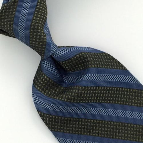 "59"" VAN HEUSEN BLACK SKY/BLUE Micro GEOMETRIC STRIPE Woven Silk Neck Tie H3-103"