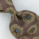 UNICEF JAVANESE MEDALLION US MADE Brown FLORAL Silk Classic Necktie I2-358 Ties