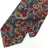 CHRISTIAN DIOR US MADE ART DECO GREY MAROON BLUE Silk Men Necktie I1-138 Ties