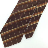 BCBG ATTITUDE NARROW BROWN PLAID CHECK Woven Men Necktie Tie I1-1157  EUC