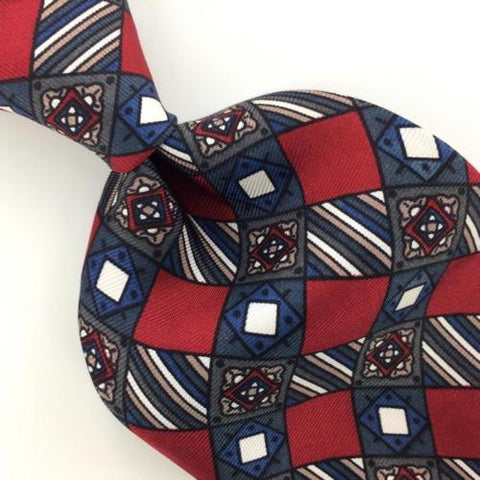 ADOLFO USA MADE CHECKERED RED NAVY BLUE Brown Silk Necktie Ties I6-35 New