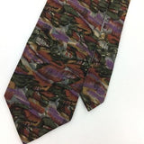VINTAGE COCKTAIL COLLECTION TIE ABSTRACT BROWN Olive Green Silk Necktie IS8-438