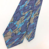 ANONYMOUS USA TIE Turquoise Gray Tan NARROW GEOMETRIC Necktie I7-763 Ties