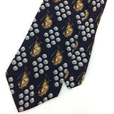 JE SUIS Made In USA TIE Gold Bag Club Ball Gold Gray Silk Men Necktie N4-163 New