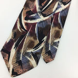 LAMBERTI TIE MADE IN ITALY ABSTRACT BROWN Black Gray Silk Necktie Ties I7-334