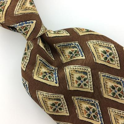 CLUB ROOM USA TIE BROWN Blue Black DIAMONDS Flowers Silk Necktie Ties I8-293