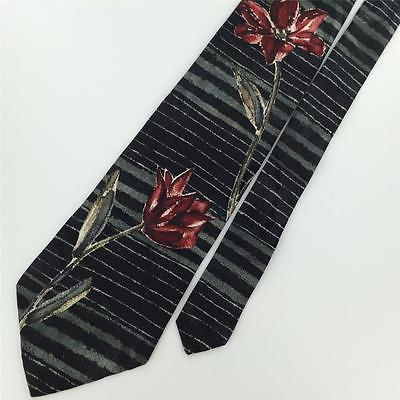 BUGATTI BLACK RED GRAY FLORAL ROSE Silk Mens Neck Tie H2-76 Excellent