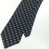 Wessio Olive GREEN NAVY GEOMETRIC SQUARE Woven Silk Mens Neck Tie H3-69 New