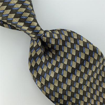 ARROW GRAY SKY/BLUE Micro GEOMETRIC Checkered Silk Men Neck Tie H2-248 Excellent