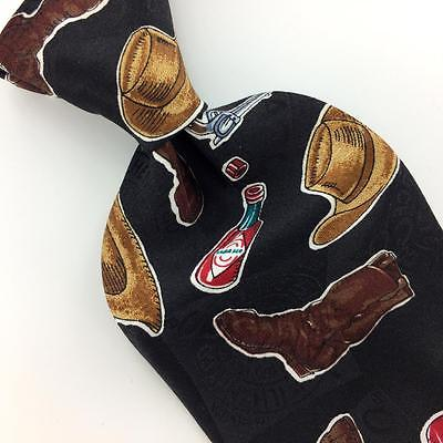 TABASCO TIE GUNS Cowboy Hats Boat BLACK Brown Red Silk Men Necktie N4-156 New