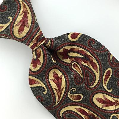 CLAIBORNE BROWN PAISLEY BROCADE GRAY Silk Men Necktie H3-436 Excellent Ties