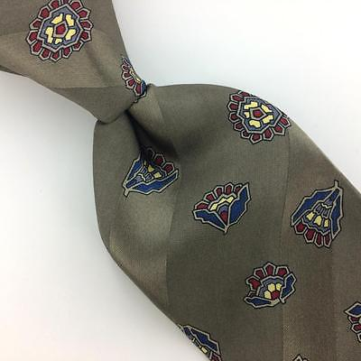 VINTAGE CALVIN KLEIN USA TIE GRAY Blue NARROW Ancient Madder Silk Necktie I7-780