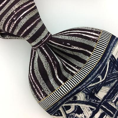 DI MOGGIO TIE HANDMADE STRIPED Deco NAVY BLUE Silk Necktie Excellent Ties I7-876