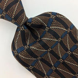 GEOFFREY BEENE TIE STRIPED MICRO DOTS BLACK Brown Blue Silk Necktie Ties I7-339