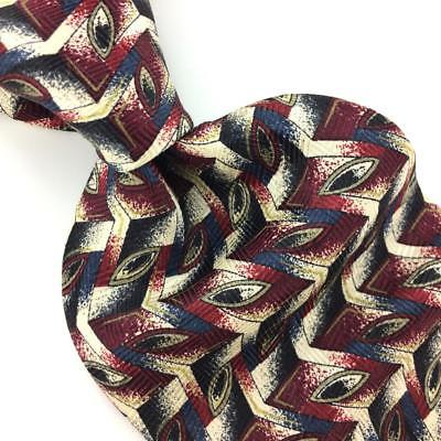 7th Ave Tie Beige Black Maroon Geometric Zig Zag Silk Necktie Ties H3-478 New