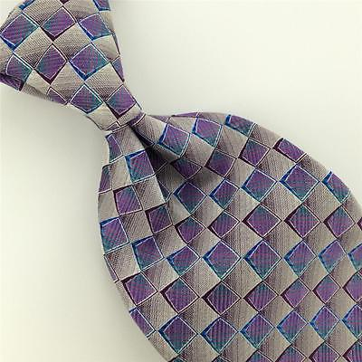 "59"" GEOFFREY BEENE Necktie FUSHIA GEOMETRIC CHECKERED Woven Silk Tie H1-303 New"