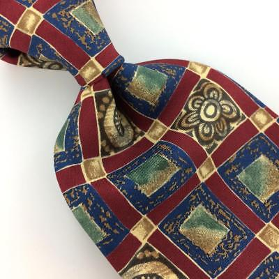 AKA EDDIE BAUER USA SQUARE  FLORAL MAROON BROWN Blue Silk Necktie Ties I8-317