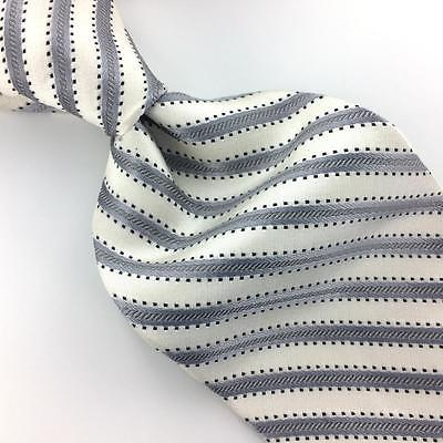 APT 9 Tie STRIPED WHITE GRAY Black Woven Silk Necktie I7-54 Ties Excellent