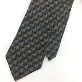 CHRISTOPHER REEVE USA TIE CHECKERED STRIPED Gray Brown Silk Necktie Ties I7-587