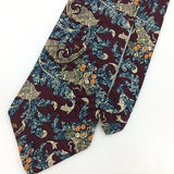 IZOD TIE MAROON ART DECO NAVY BLUE ORANGE Silk Necktie Excellent Ties I7-811