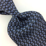 Ziggurat Blue Black Checkered Micro Geometric Silk Necktie Ties H3-495 New