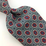 KENNETH ROBERTS TIE FLORAL GRAY RED NAVY BLUE Silk Necktie Excellent Ties I7-356