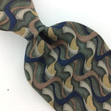 COMO COLLEZIONE USA TIE ABSTRACT Waves GRAY NAVY BLUE Silk Necktie Ties I7-867