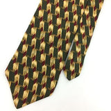 HAGGAR CLOTHING TIE US MADE OLIVE GREEN Gold  DIAMONDS Silk Necktie Ties I7-342