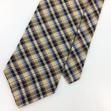 IZOD TIE WOVEN BROWN PLAIDS CHECKERED BLUE Beige Silk Necktie EUC Ties I7-808
