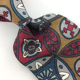 BASS USA TIE TURQUOISE RED GRAY ART DECO Floral Silk Necktie Ties I7-839