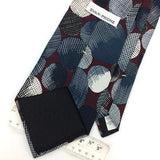 EVAN PICONE US TIE GEOMETRIC CIRCLE MAROON Gray Silk Necktie Excellent I8-310