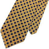 GEOFFREY BEENE USA CHECKERED Yellow NAVY BLUE Silk Necktie Excellent Ties I8-301
