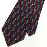 GRAHAM LOCKWOOD TIE STRIPED Checked MAROON GRAY Gold Silk Necktie Ties I8-360